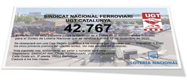 Loteria de Navidad 2020 del Sindicat Ferroviari de la UGT de Catalunya