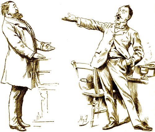 A drawing of two comical high class gentlemen having an animated argument