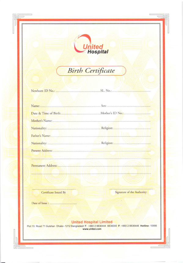 Birth Certificate - United Hospital