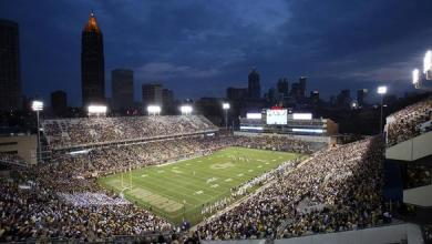 Sep 3, 2015; Atlanta, GA, USA; The sun sets over the Atlanta skyline as Georgia Tech Yellow Jackets watch their team play in the first quarter of their game against the Alcorn State Braves at Bobby Dodd Stadium. Mandatory Credit: Jason Getz-USA TODAY Sports