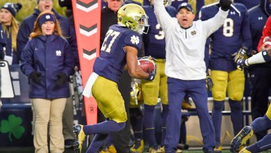 Notre Dame CB Julian Love returns an INT for a TD against NC State
