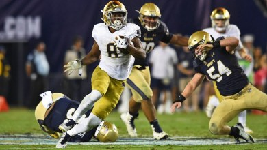 Notre Dame RB Jafar Armstrong in action vs. Navy.
