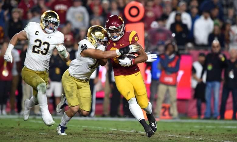Notre Dame S Alohi Gilman forces a fumble against USC