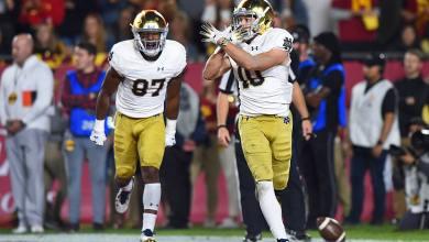 Notre Dame WR Chris Finke celebrates his TD versus USC