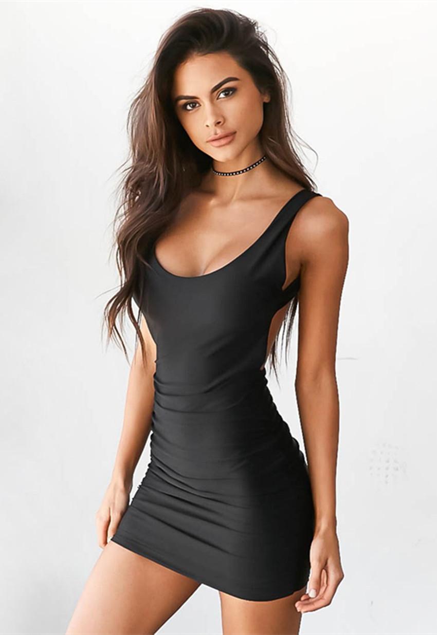 Womens Scoop Neck Sleeveless Bodycon Mini Tank Dress Black