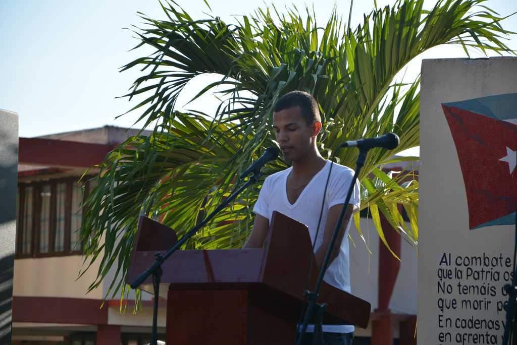 Intervención del estudiante Glessler Ramos, vicepresidente de la FEU en la Universidad de Holguín . Desarrollado en la la sede Oscar Lucero Moya, el 13 de marzo de 2017. UHO FOTO/Yudith Rojas Tamayo