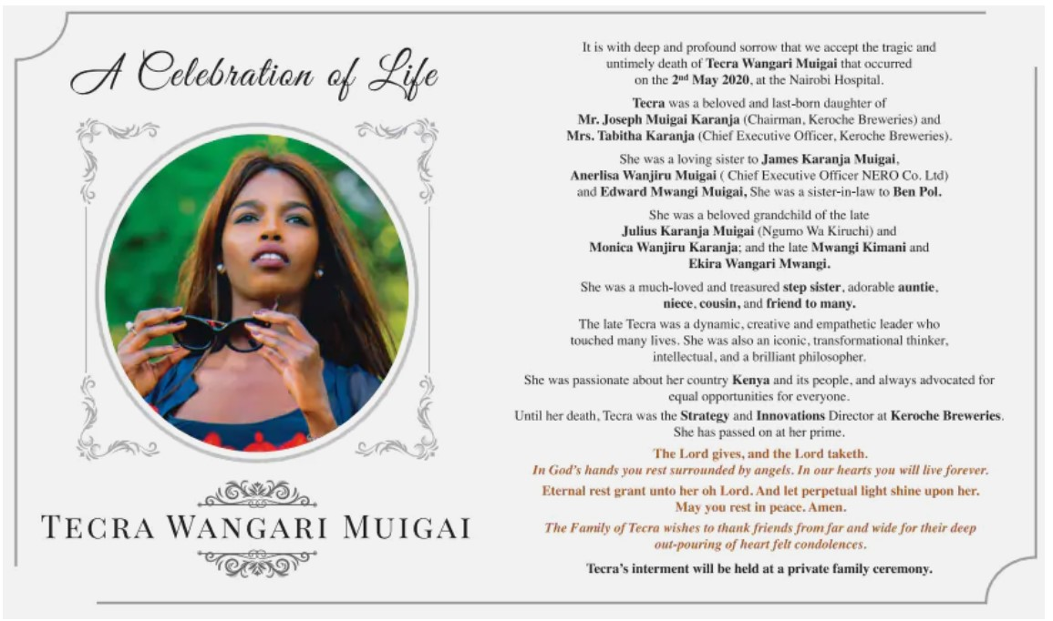 The late Tecra Muigai's obituary makes its way online