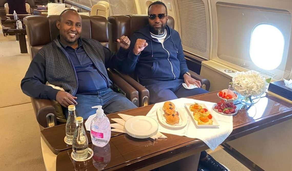 Suna East MP Junet Mohamed alongside Mombasa Governor Ali Hassan Joho in a luxurious private jet to Dubai: A mystery handbag spotted inside the aircraft sent netizens into a frenzy