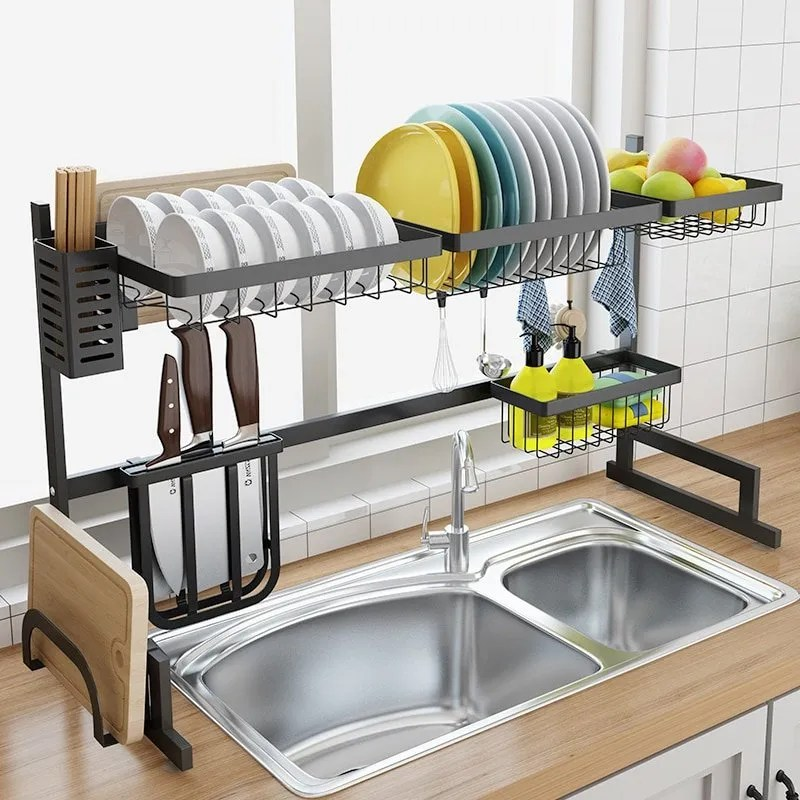 kitchen over sink draining rack double sink