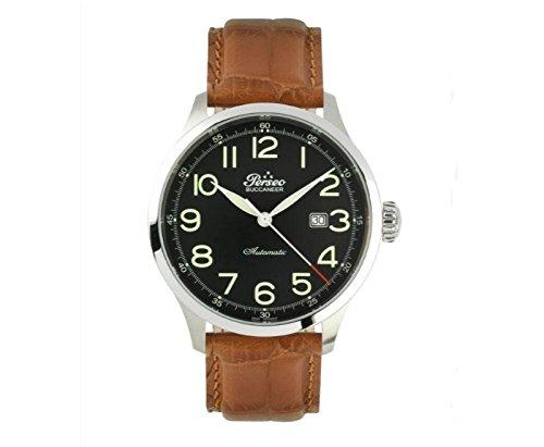 Herren Automatik Uhr Perseo Buccaneer 11335Bewegung Schweizer ETA schwarz Leder braun