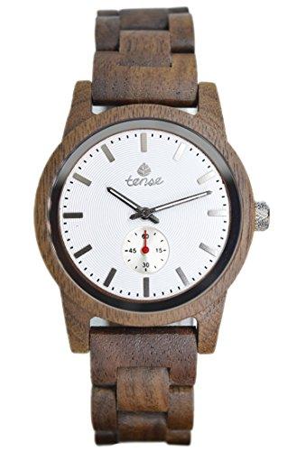 PREMIUM Holz-Uhr TENSE Mens Hampton (made in Canada) - Walnussholz - weißes Ziffernblatt - Herrenuhr B4700W-W