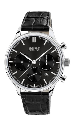 Dugena Herren-Armbanduhr Sigma Chronograph - Traditional Classic Analog Quarz Leder 7000201