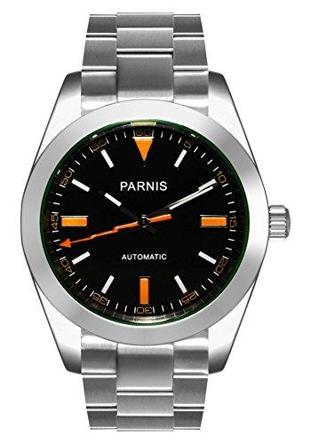PARNIS Herren Armbanduhr 2095 Automatikuhr Ø39mm Saphirglas massiv Edelstahl 5BAR schwarz orange