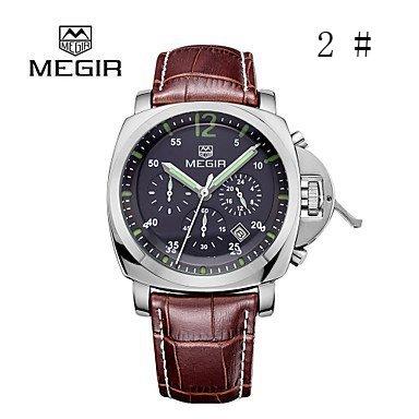 Fenkoo megir® 2015 Mode für Männer Quarz-Uhren mit 3 kleinen Wahlluxusmarken Lederband Zeiger mit Leucht (2 #)
