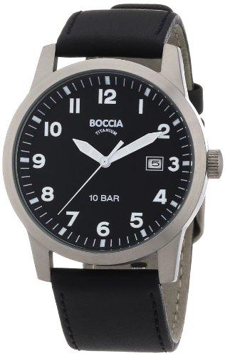 Boccia Herren-Armbanduhr Leder 597-03
