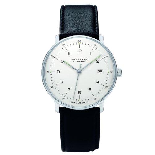 Junghans Herren-Armbanduhr XL Max Bill Automatic Analog Automatik Leder 027/4700.00