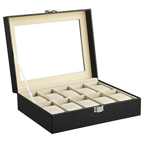 Songmics Neu Uhrenbox für 10 Uhren Uhrenkasten Schwarz  mit Glasfenster JWB010