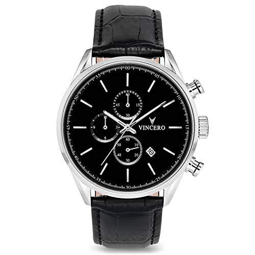 Vincero Luxus Chrono S Herren Armbanduhr - Schwarz/Silber mit schwarzem Lederarmband - 43mm Chronograph Uhr - Japanisches Quarz Uhrwerk