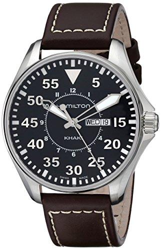 Hamilton Khaki Pilot 42mm Herren-Armbanduhr 42mm Armband Leder Braun Gehäuse Edelstahl Batterie H64611535