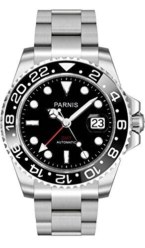 PARNIS 2034 Red Brand GMT Sportliche 40mm Herren-Automatikuhr GMT-Uhrwerk MZ2814 Saphirglas 316L Edelstahl-Gehäuse und Armband 5 Bar wasserdicht