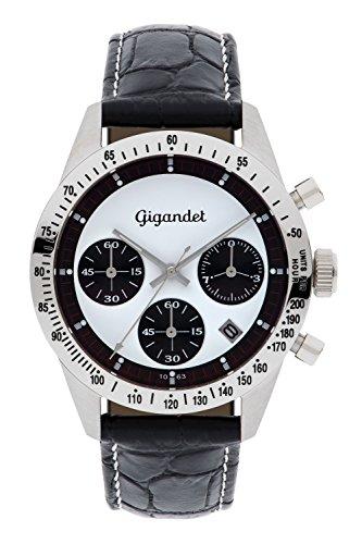Gigandet Race King Herren-Armbanduhr Chronograph Quarz Leder schwarz G5-003