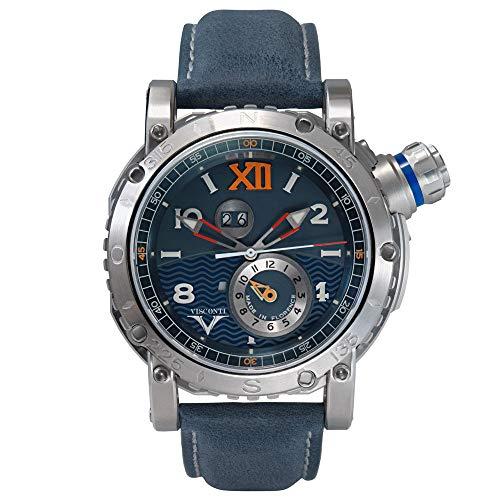 Visconti Herren Taucheruhr mit blauem Lederband Grand Cruise GMT INOX