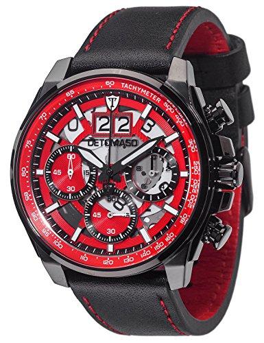 DETOMASO LIVELLO Herren-Armbanduhr Chronograph Analog Quarz schwarzes Lederarmband rotes Zifferblatt DT2060-C