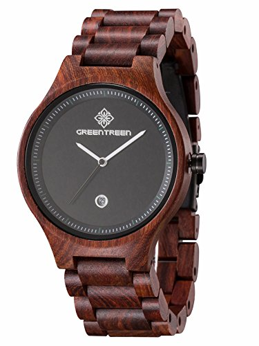 GREENTREEN natürlichen Jungen Holz Armbanduhr mit Kalender Funktion rot Sandelholz-Männer Quarzuhren Sportuhren