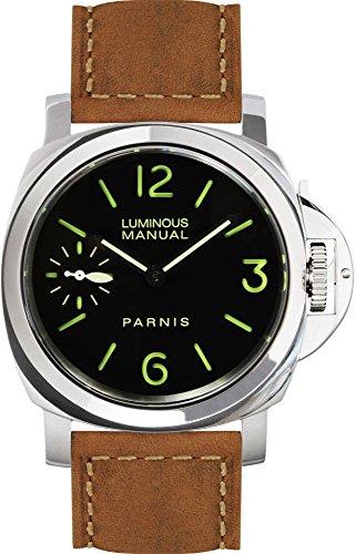 PARNIS 9017 klassische Handaufzugsuhr 44mm mechanische Herren-Armband-Uhr Saphirglas Edelstahl Wildlederarmband SeaGull ST36 Markenuhrwerk