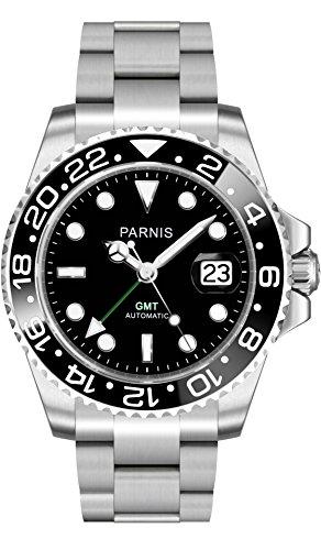 PARNIS Automatik-Armbanduhr 2034 BRAND GMT-Uhr für Herren mit Saphirglas, Edelstahl-Armband und zwei Zeitzonen in 40mm - Herren-Automatik-Uhr