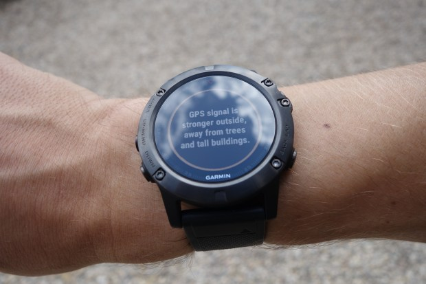 Garmin fenix5X info text for GPS fix