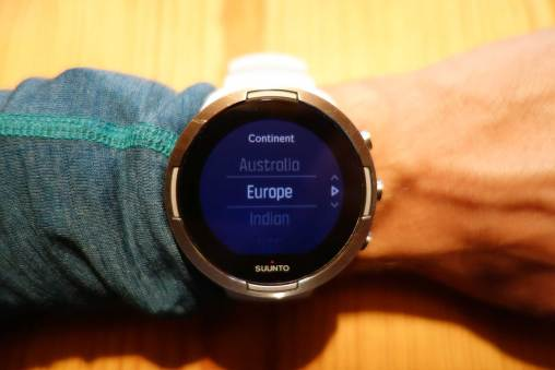 Continent (time zone) setting on Suunto 9 or Spartan