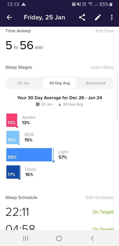 Fitbit App Sleep Data Overview for Single Day, Sleep Stages Bar Chart vs. 30-Day Average