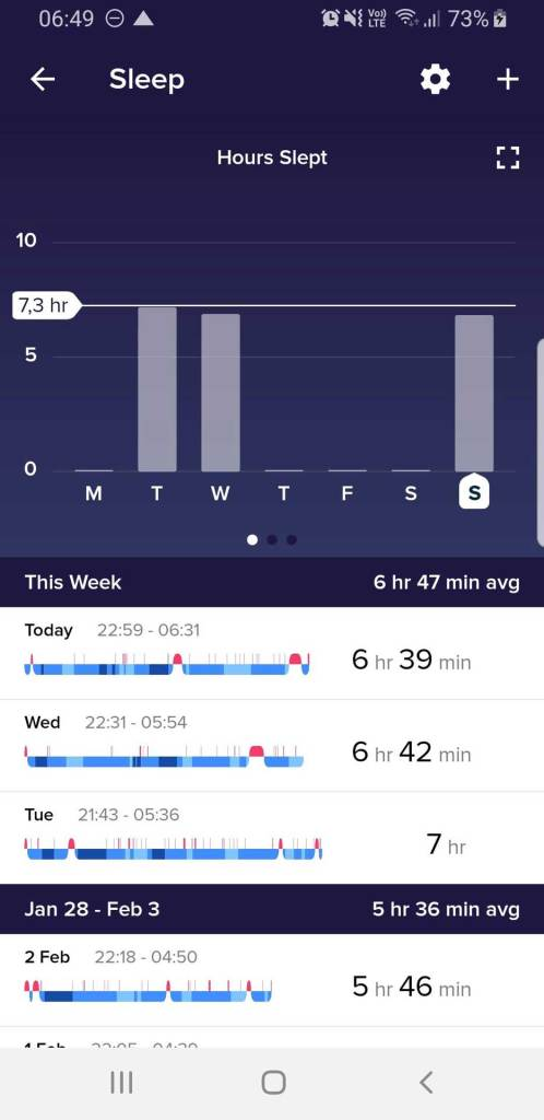 Fitbit App Überblick über Schlafdaten (Dauer)