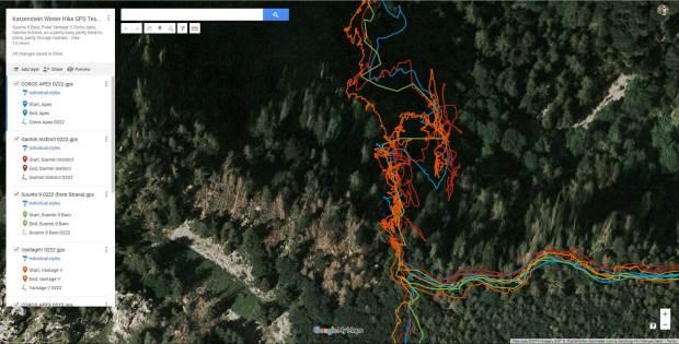 GPS tracks from climb up to the Hohe Scharte
