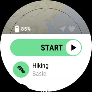 Suunto WearOS App, Startbildschirm