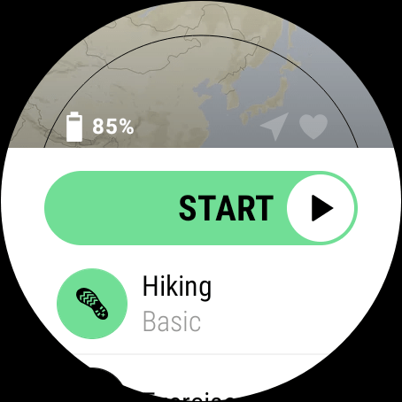 Suunto 7, Suunto App Start Screen