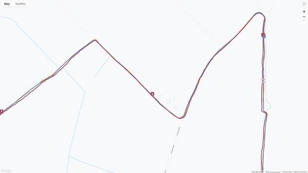 GPS Tracks from Grit X, Vantage V, and Polar BEAT (i.e., my Galaxy S9's GPS), Detail
