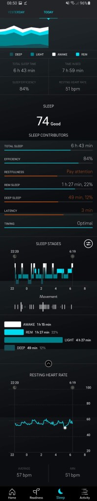 Oura App 'Sleep' Tab
