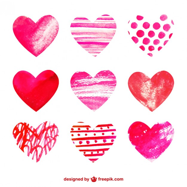 watercolor hearts collection free