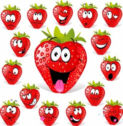 cartoon strawberry expression vector
