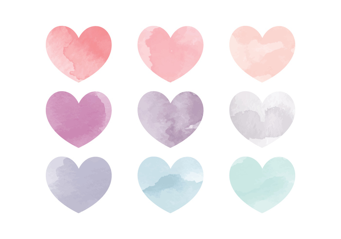 vector watercolor hearts free