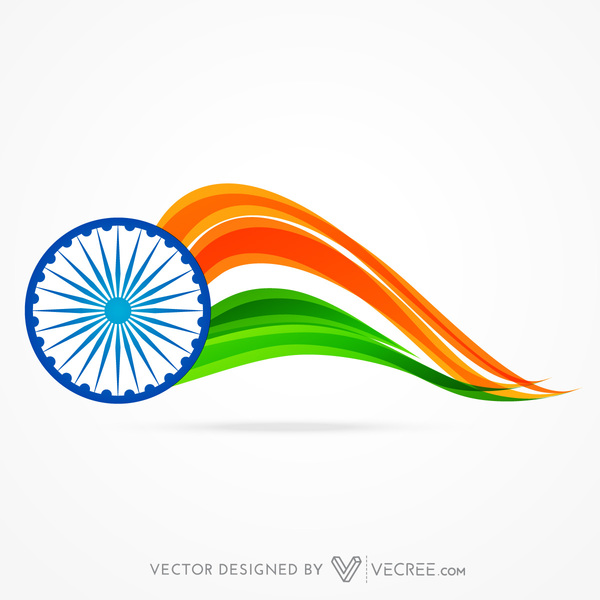 Abstract Indian Flag With Wheel Design Free Vector Free Vectors Ui Download