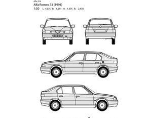 Alfa romeo auto all side layout vector representation