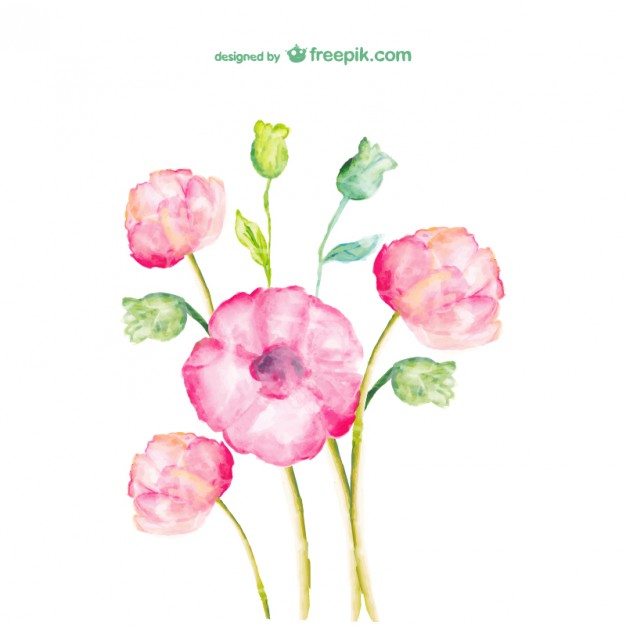 watercolor flowers free design