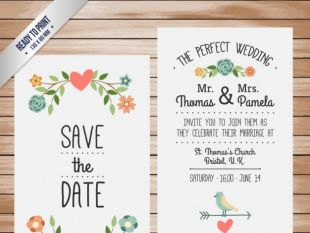 Cute Wedding Invitation With Watercolor Flowers Free Vector