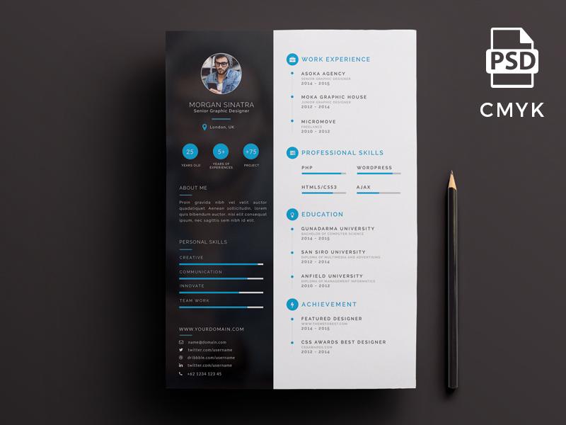 Creative Resume Template Free Psd UI Download