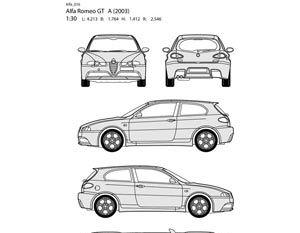 Alfa romeo auto all side outline vector representation