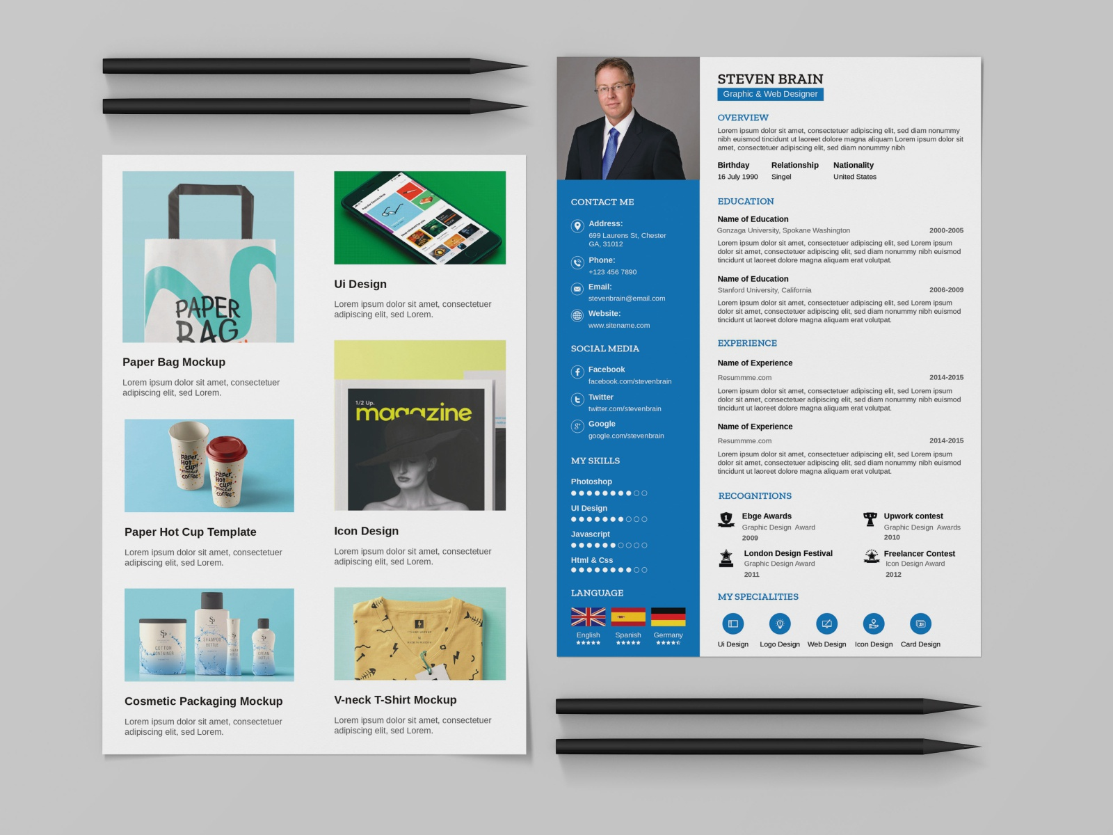 Resume and portfolio template for all job seekers, an exceptionally elegant cv to present yourself and work. Free Resume Template With Portfolio Free Psd Ui Download