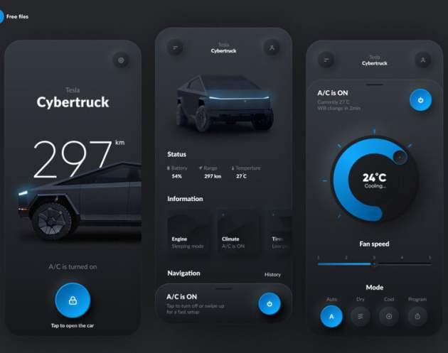 Tesla Smart App Design- uifreebies.net